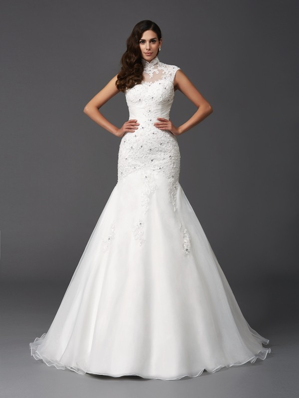 Glamorous Mermaid High Neck Sleeveless Long Organza Wedding Dress