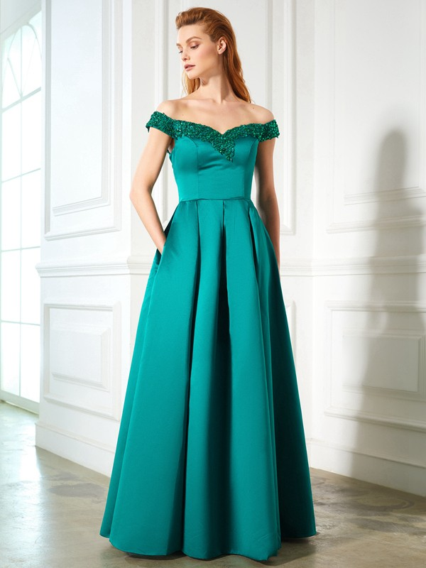 Beautiful A-Line Off-the-Shoulder Sequin Sleeveless Satin Floor-Length Dress