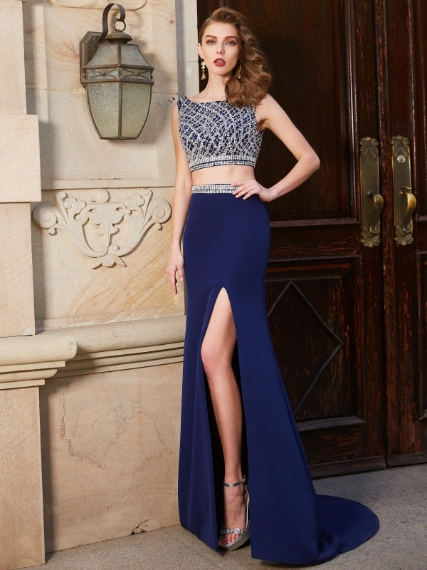 Affordable Sheath Bateau Sleeveless Sweep/Brush Train Elastic Woven Satin Two Piece Dress