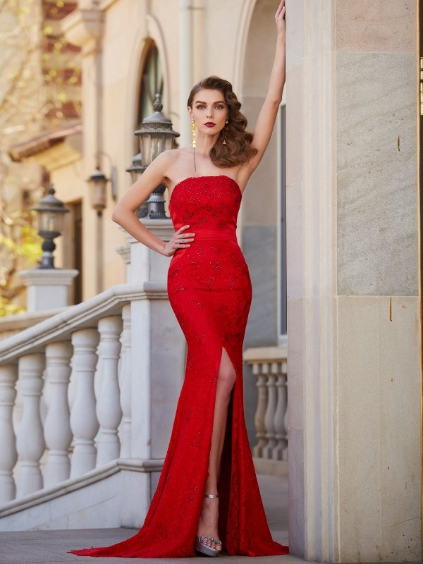 Affordable Mermaid Strapless Sleeveless Sweep/Brush Train Satin Dress