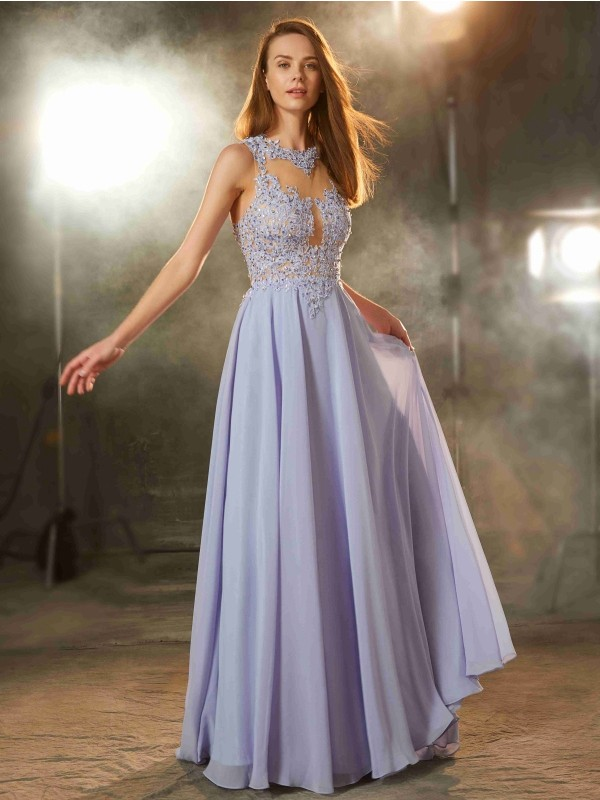 Cheap A-Line Scoop Sleeveless Floor-Length Chiffon Dress