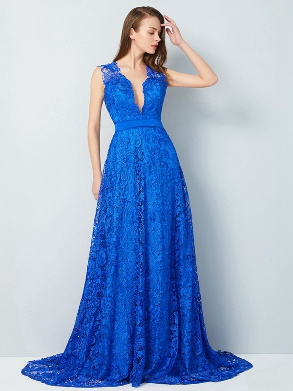 Affordable A-Line V-neck Sleeveless Sweep/Brush Train Lace Dress