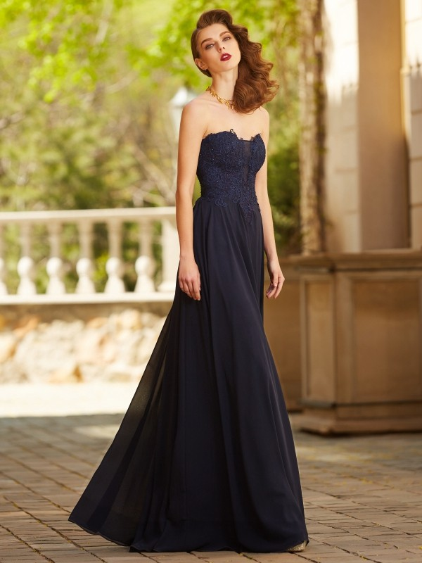 Affordable A-Line Sweetheart Sleeveless Floor-Length Chiffon Dress