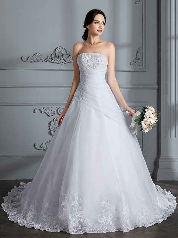 Fancy Ball Gown Strapless Sleeveless Court Train Organza Wedding Dress