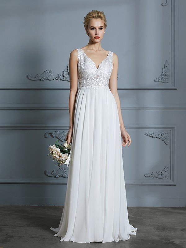 Unique A-Line Sleeveless V-neck Sweep/Brush Train Chiffon Wedding Dress