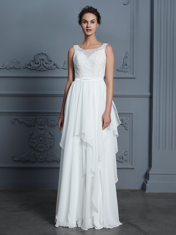 Elegant A-Line Scoop Sleeveless Floor-Length Chiffon Wedding Dress
