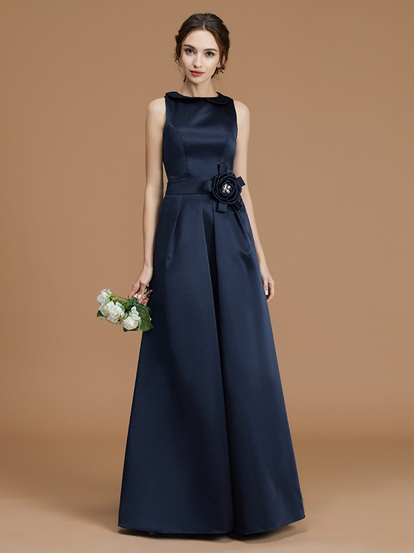 Fashion A-Line Bateau Sleeveless Floor-Length Satin Bridesmaid Dress