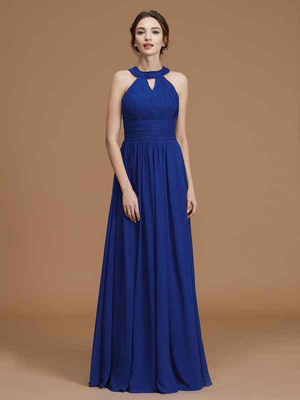 Chic A-Line Halter Sleeveless Floor-Length Chiffon Bridesmaid Dress