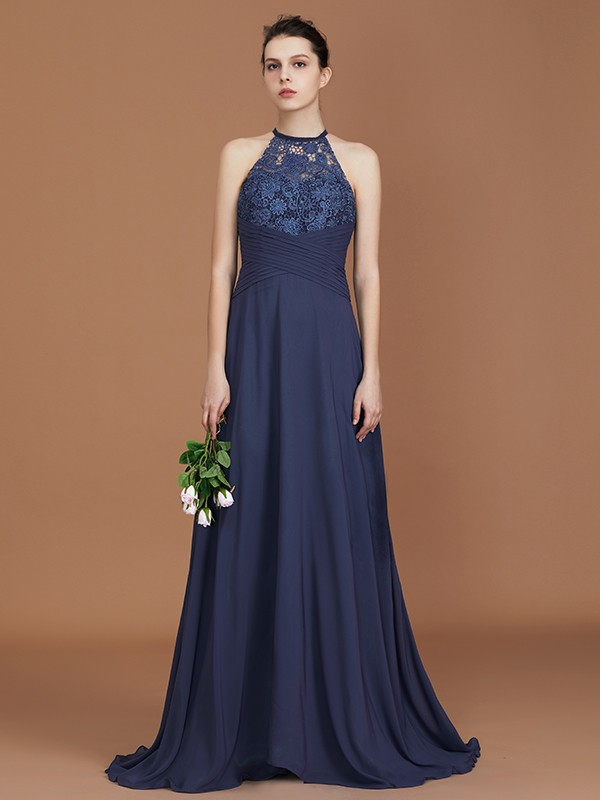 Discount A-Line Scoop Sleeveless Sweep Train Chiffon Bridesmaid Dress