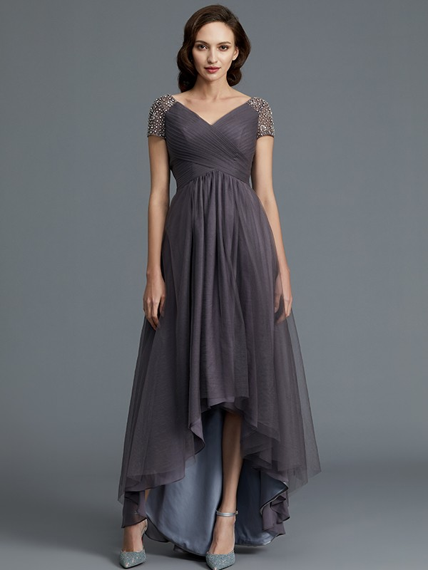 Gorgeous A-Line V-neck Short Sleeves Asymmetrical Tulle Mother of the Bride Dress