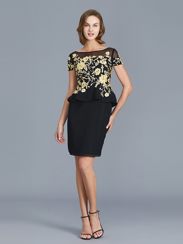 Fashion Sheath Scoop Short Sleeves Knee-Length Chiffon Mother of the Bride Dress