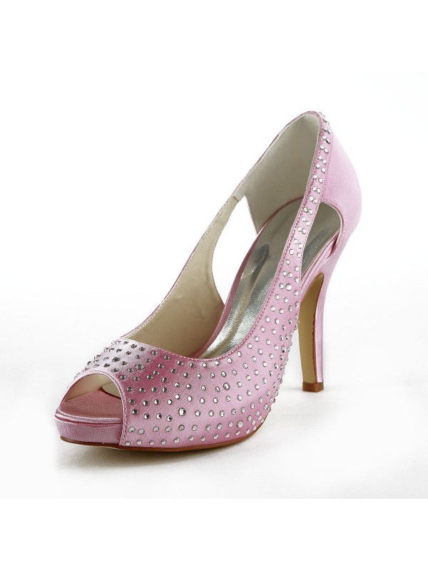 Fashion Women Satin Stiletto Heel Peep Toe Pink Wedding Shoes