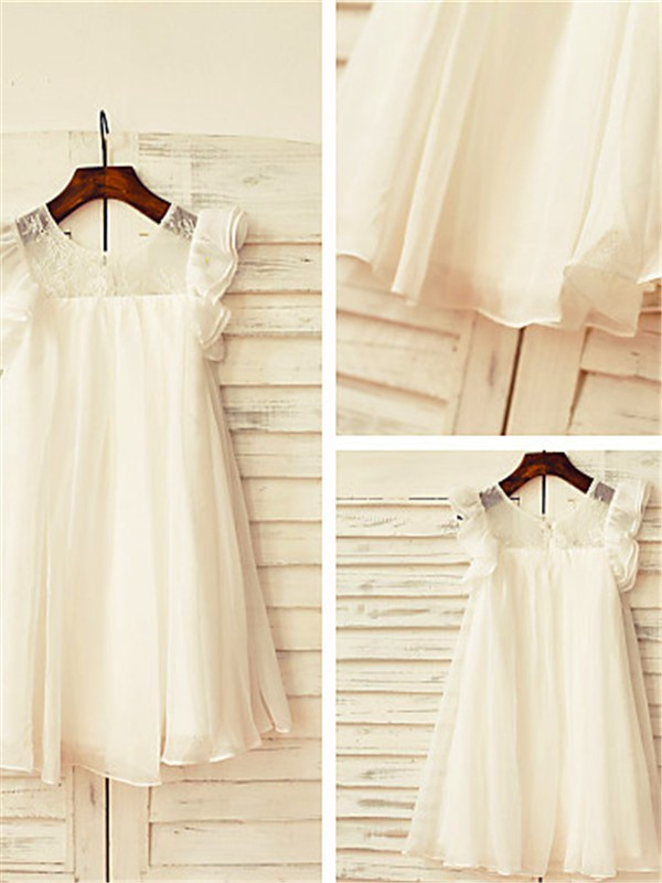 Fashion A-line Scoop Short Sleeves Lace Tea-Length Chiffon Flower Girl Dress