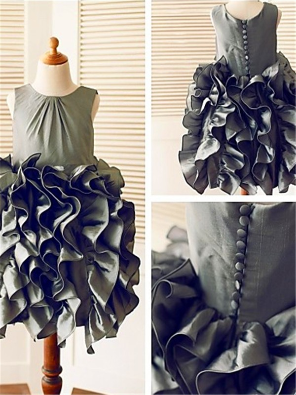 Nice Ball Gown Sleeveless Straps Tea-Length Tulle Flower Girl Dress