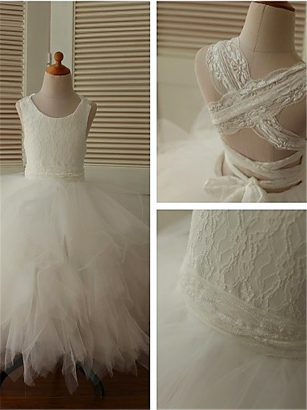 Gorgeous Ball Gown Scoop Sleeveless Lace Tea-Length Organza Flower Girl Dress