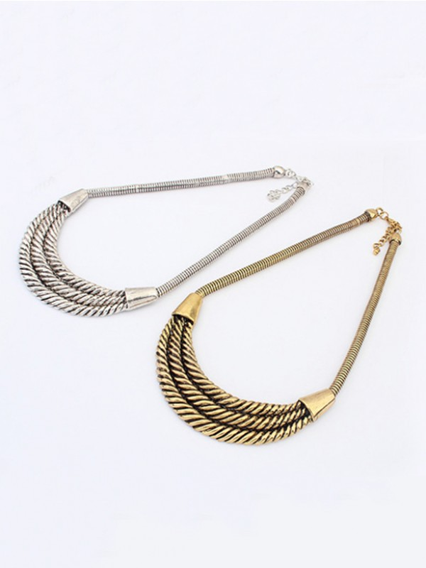 Stylish Occident Hyperbolic Personality Semi-arc alloy Necklace