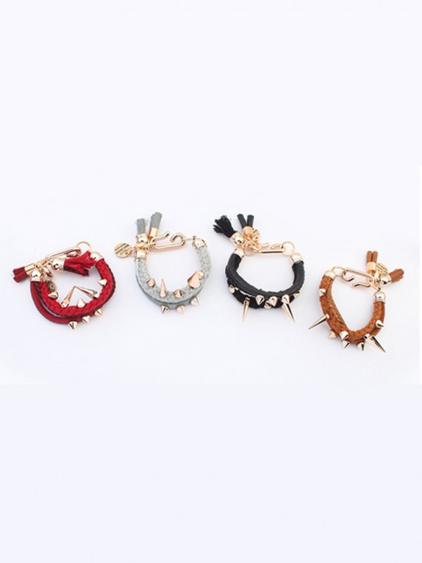 Chic Occident Hyperbolic Personality Rivet Woven Bracelet