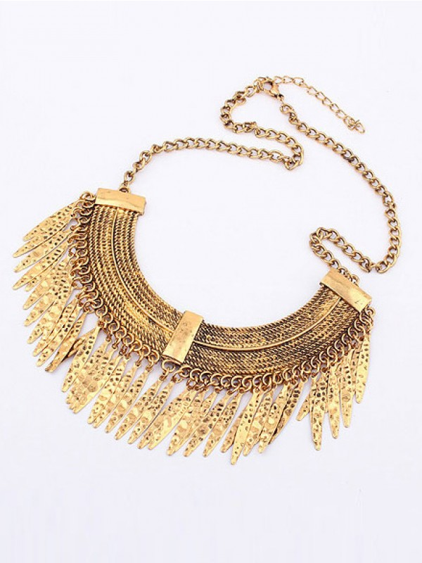 Stylish Korean version Retro Arcuated Willow pattern Water Drop Necklace