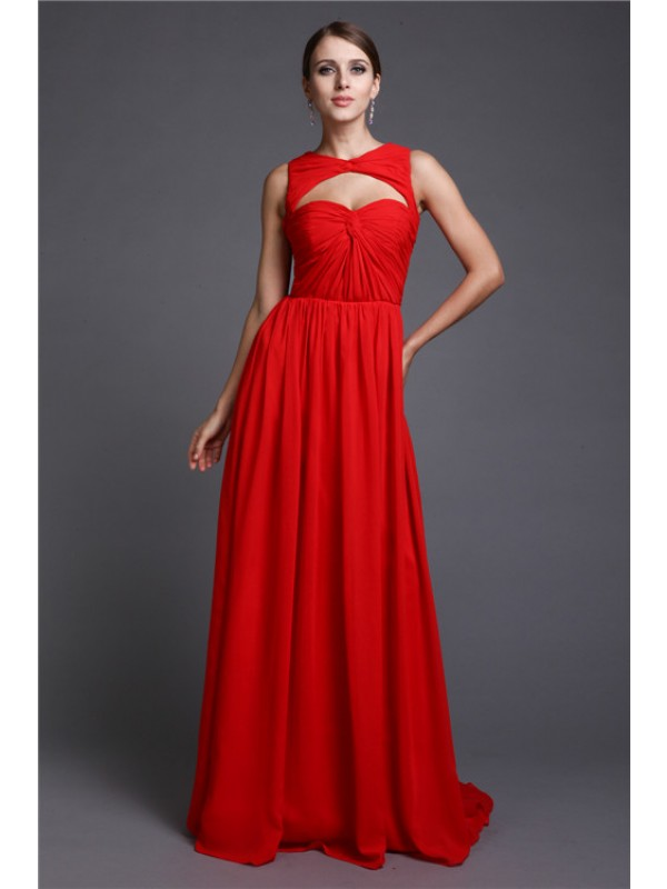Modest A-Line Long Sleeveless Chiffon Dress