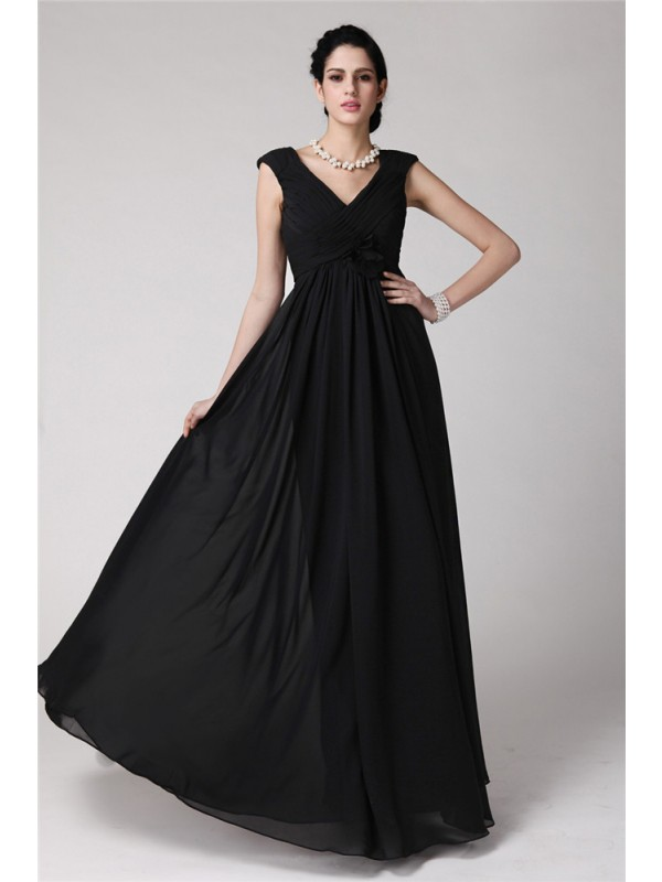 Modest Sheath V-neck Sleeveless Long Chiffon Dress