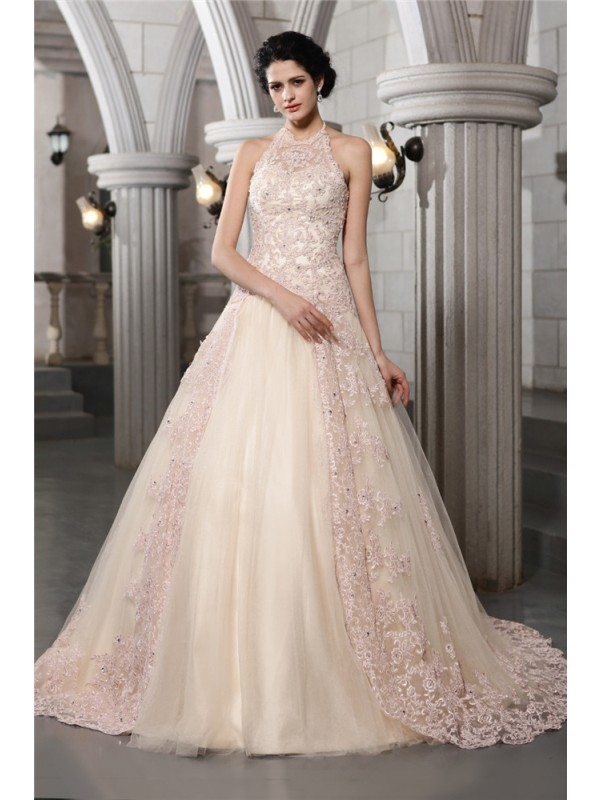 Beautiful A-Line High Neck Sleeveless Long Net Wedding Dress