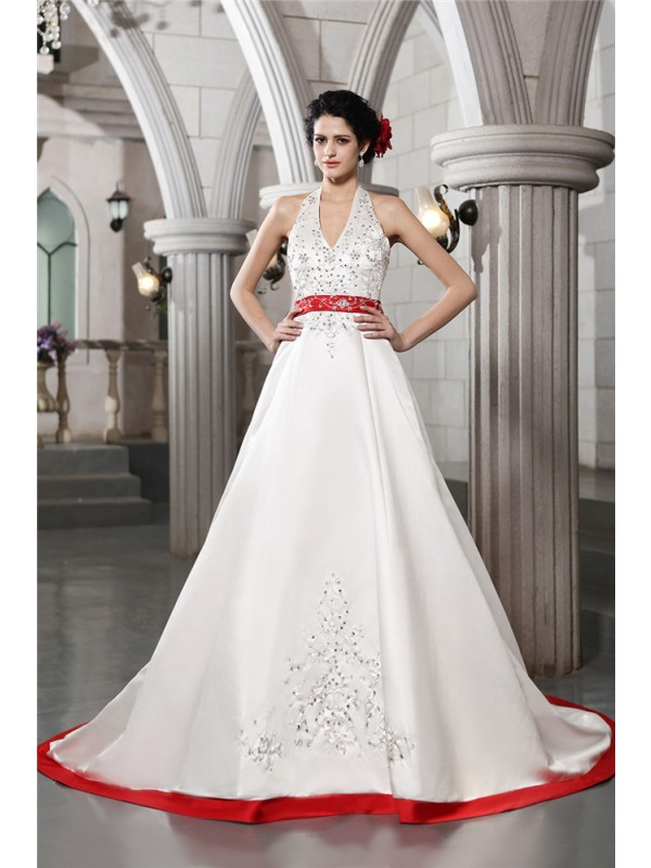 Beautiful A-Line V-neck Sleeveless Long Satin Wedding Dress