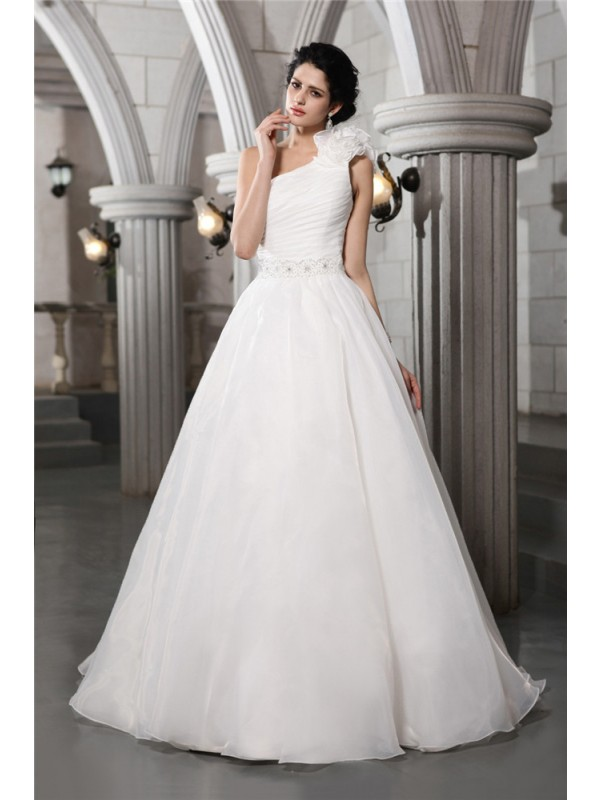 Beautiful A-Line One-Shoulder Sleeveless Long Organza Wedding Dress