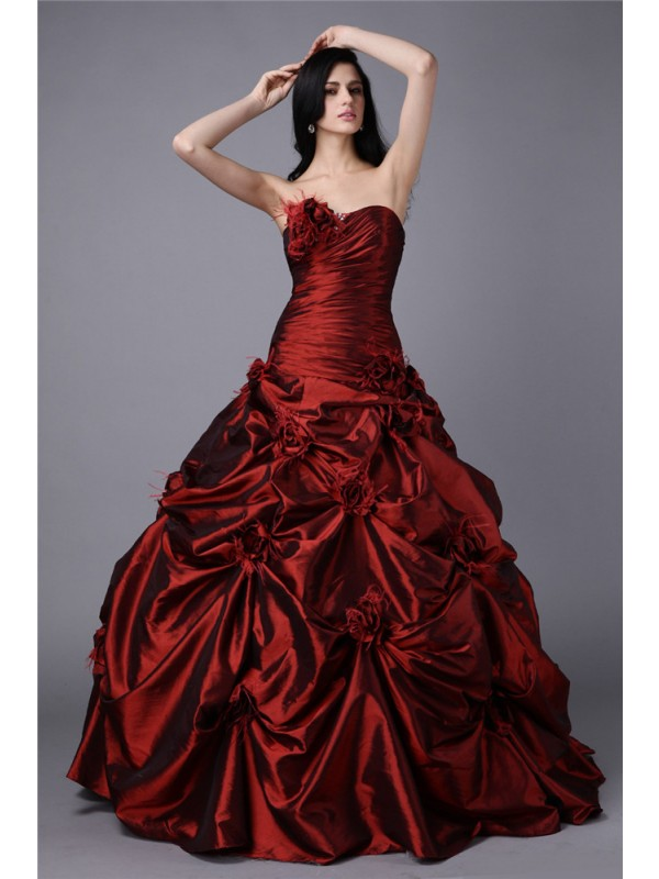Hot Sale Ball Gown Strapless Sleeveless Long Taffeta Dress