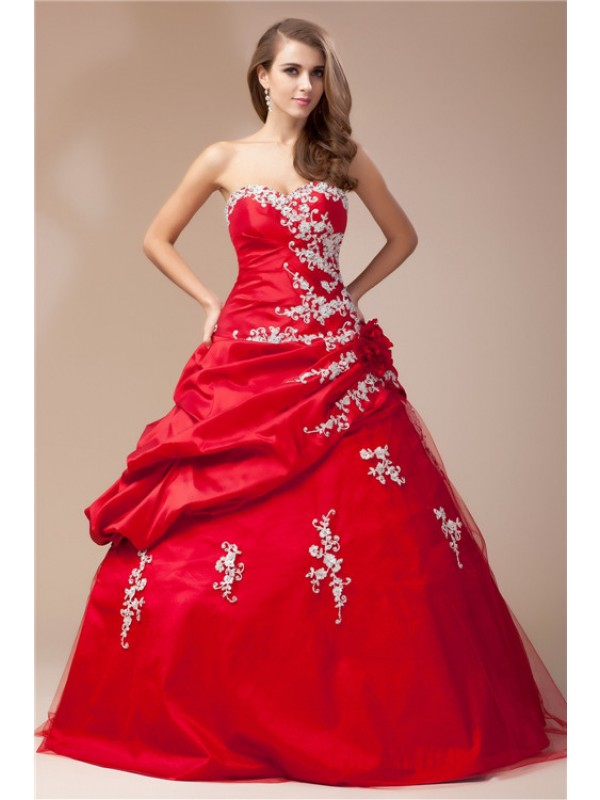 Modest Ball Gown Sweetheart Sleeveless Lace Long Taffeta Net Dress