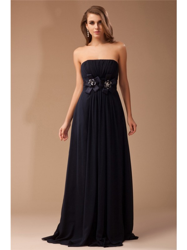 Modest Sheath Strapless Sleeveless Long Chiffon Elastic Woven Satin Dress