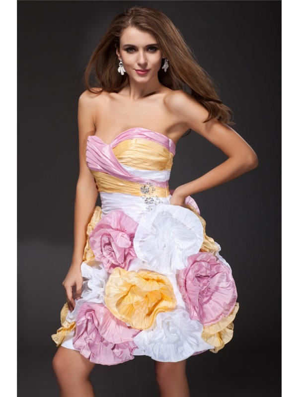 Hot Sale A-Line Sweetheart Sleeveless Short Taffeta Cocktail Dress
