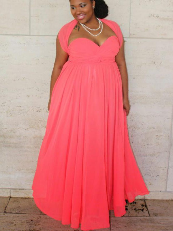 Charming A-Line Sweetheart Sleeveless Floor-Length Chiffon Plus Size Dress
