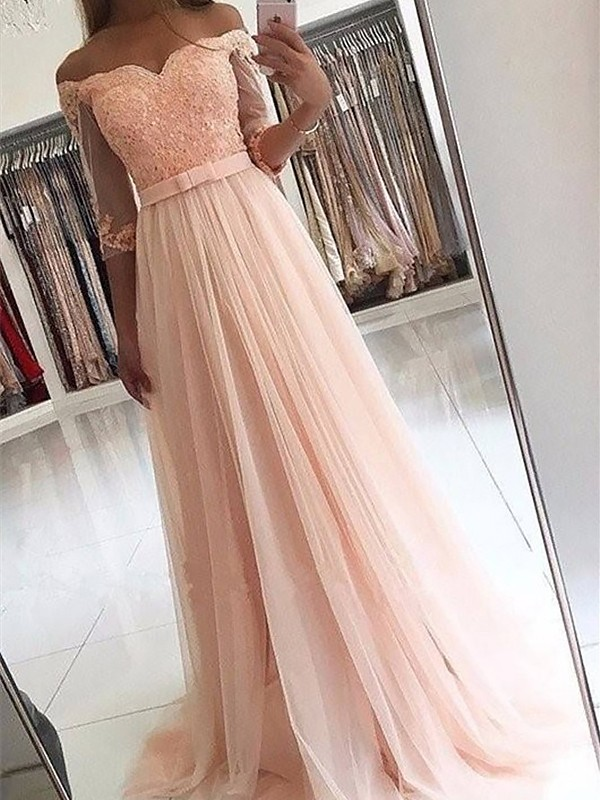 Fashion A-Line 3/4 Sleeves Off-the-Shoulder Tulle Sweep/Brush Train Dress