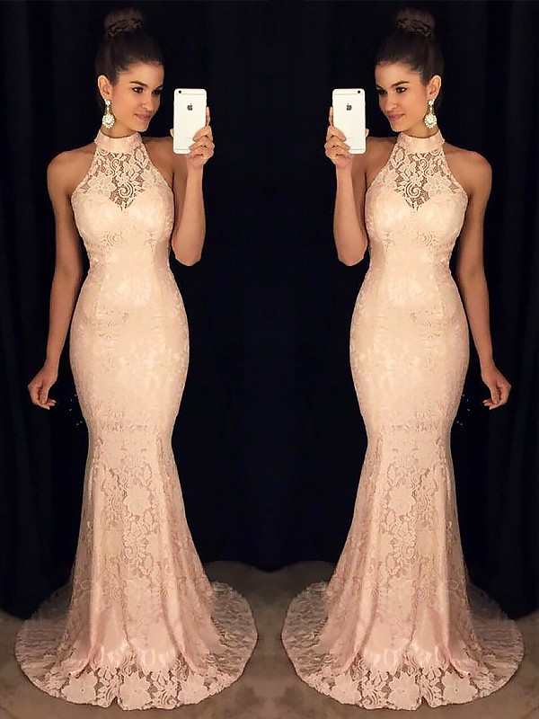 Gorgeous Mermaid High Neck Sleeveless Sweep/Brush Train Lace Dress