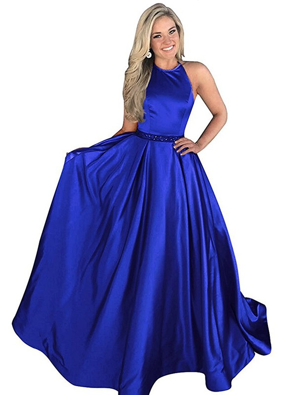 Gorgeous A-Line Halter Sleeveless Sweep/Brush Train Satin Dress