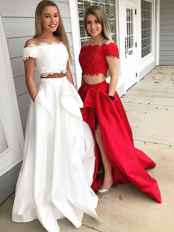 Unique A-Line Off-the-Shoulder Sleeveless Sweep/Brush Train Lace Satin Two Piece Dress