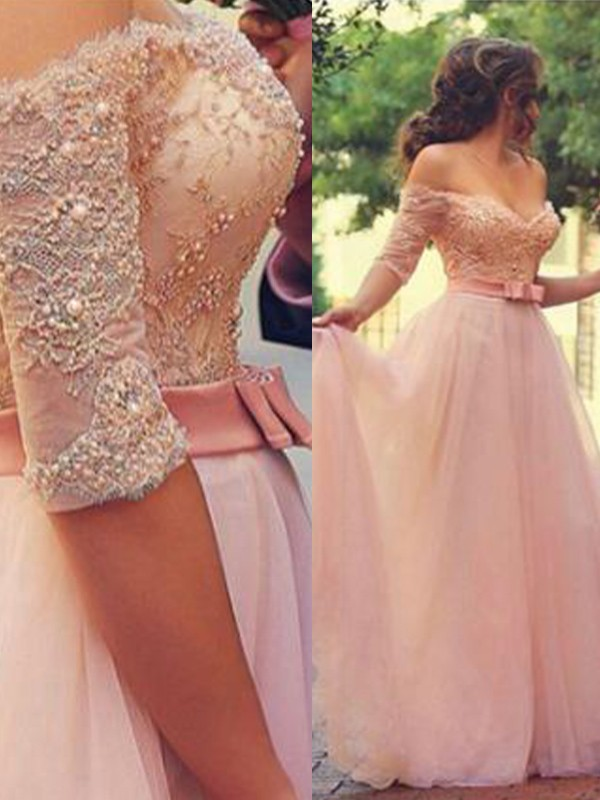 Unique A-Line Off-the-Shoulder 1/2 Sleeves Floor-Length Lace Tulle Dress