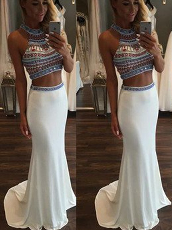 Perfect Mermaid Sleeveless Halter Sweep/Brush Train Chiffon Two Piece Dress