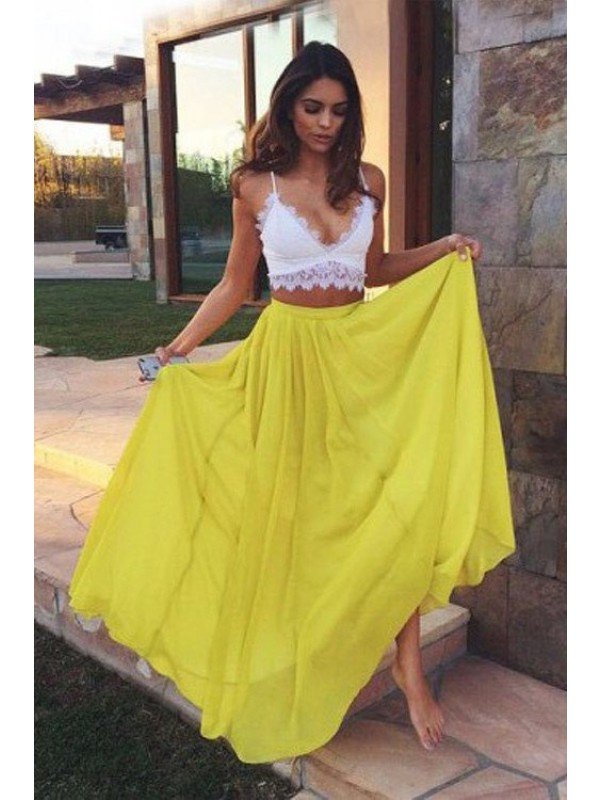 Perfect A-Line Straps Sleeveless Floor-Length Lace Chiffon Two Piece Dress