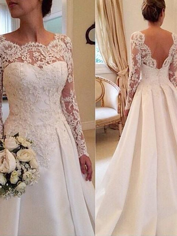Affordable Ball Gown Scoop Long Sleeves Lace Court Train Satin Wedding Dress
