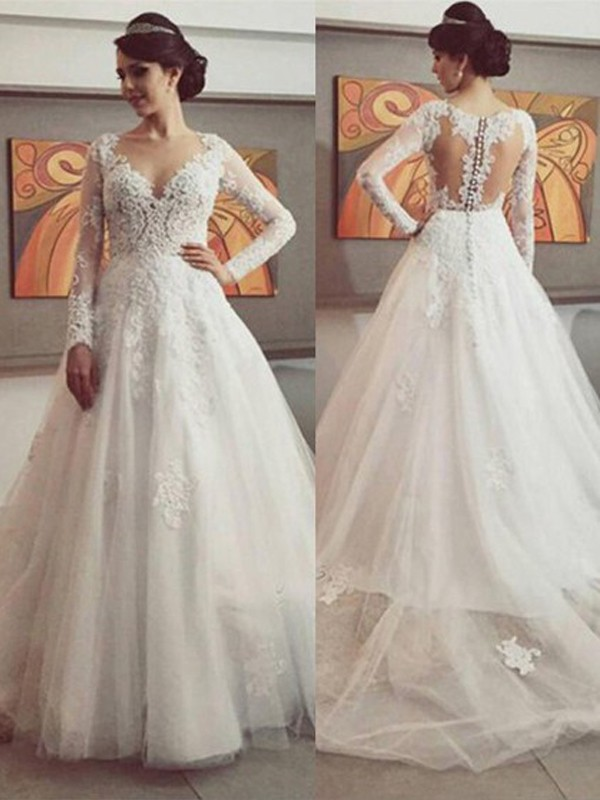 Affordable Ball Gown V-neck Long Sleeves Lace Court Train Tulle Wedding Dress