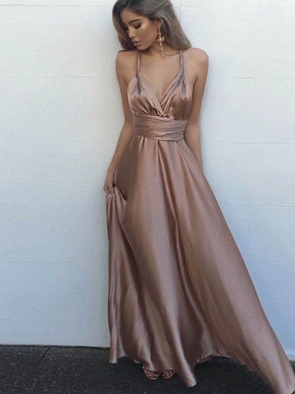 Perfect A-Line Sleeveless Spaghetti Straps Silk like Satin Floor-Length Dress