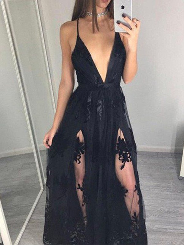 Perfect A-Line Sleeveless Spaghetti Straps Tulle Floor-Length Dress