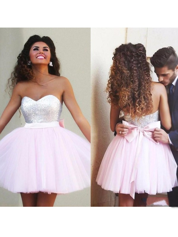 Discount A-Line Sleeveless Sweetheart Tulle Short/Mini Dress