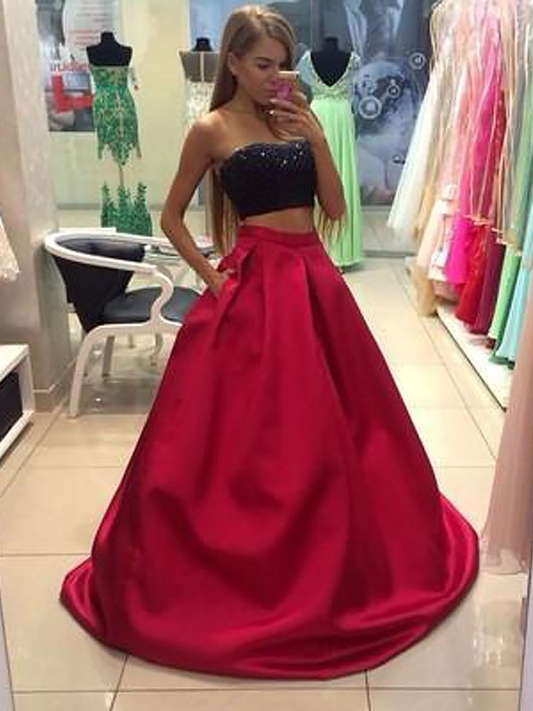 Stylish A-Line Strapless Sleeveless Tulle Floor-Length Two Piece Dress