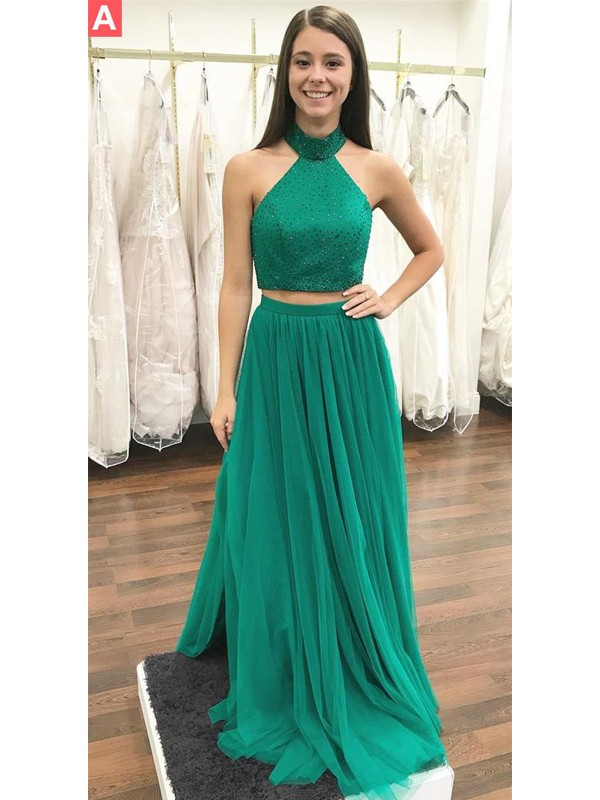 Fashion A-Line Halter Sleeveless Floor-Length Tulle Two Piece Dress