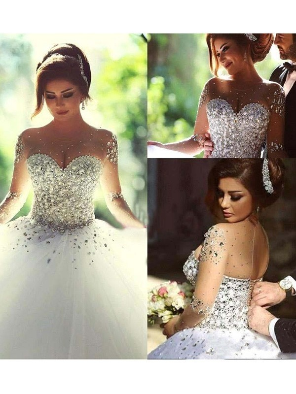 Fancy Ball Gown Long Sleeves Scoop Court Train Tulle Wedding Dress