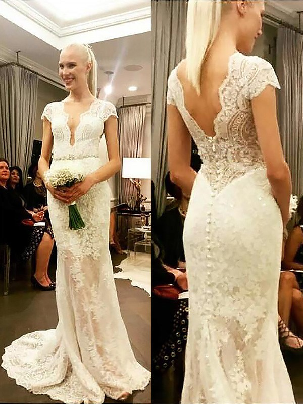 Exquisite Sheath V-neck Lace Short Sleeves Sweep/Brush Train Wedding Dress