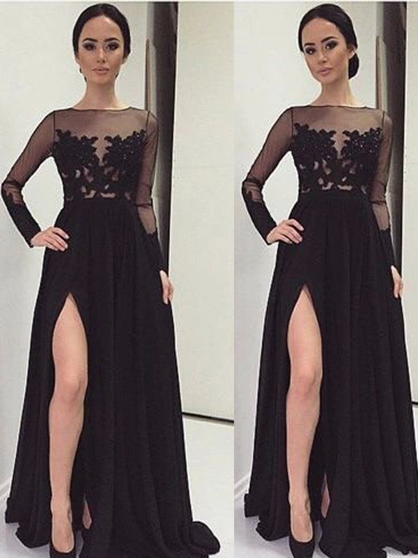 Stunning A-Line Bateau Long Sleeves Lace Floor-Length Chiffon Dress
