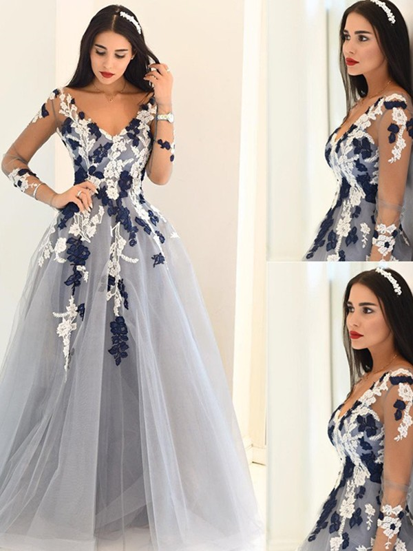 Stunning A-Line V-Neck Long Sleeves Tulle Floor-Length Dress